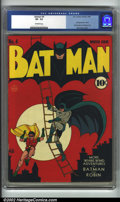 Golden Age (1938-1955):Superhero, Batman #4 (DC, 1940). CGC VF- 7.5 Off-white pages. Third appearance of the Joker, first mention of Gotham City. Overstreet 2...