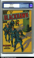 Golden Age (1938-1955):War, Blackhawk #13 (DC, 1946) CGC VG+ 4.5 Off-white to white pages.Overstreet 2002 GD 2.0 value = $77; FN 6.0 value = $231....