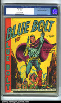 Golden Age (1938-1955):Superhero, Blue Bolt #3 Mile High pedigree (Novelty Press, 1940) CGC VF 8.0 Off-white to white pages. 1 page Space Hawk by Wolverton, p...