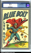 Golden Age (1938-1955):Superhero, Blue Bolt #7 Mile High pedigree (Novelty Press, 1940) CGC NM- 9.2 Off-white pages. Simon and Kirby cover and art. Overstreet...