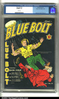 Golden Age (1938-1955):Superhero, Blue Bolt #10 Mile High pedigree (Novelty Press, 1941) CGC VF/NM 9.0 White pages. Gustavson, Simon and Kirby artwork. Overst...