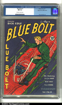 Blue Bolt #12 Mile High pedigree (Novelty Press, 1941) CGC NM 9.4 Off-white to white pages. Overstreet 2002 NM 9.4 value...
