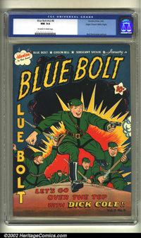 Blue Bolt v2 #8 Mile High pedigree (Star, 1942) CGC NM 9.4 Off-white to white pages. Bob Davis cover and art. Overstreet...