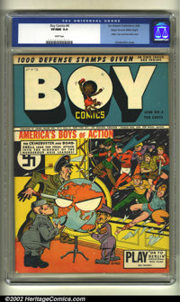 Boy Comics #4 Mile High pedigree (Lev Gleason, 1942) CGC VF/NM 9.0 White pages. Hitler, Tojo, Mussolini cover. Overstree...