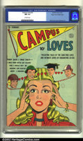 Golden Age (1938-1955):Romance, Campus Loves #2 Mile High pedigree (Quality, 1950) CGC NM 9.4 Off-white pages. Overstreet 2002 NM 9.4 value = $225....