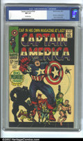Silver Age (1956-1969):Superhero, Captain America #100 (Marvel, 1968). CGC NM 9.4 off-white pages. First issue. Kirby art. Overstreet 2002 NM 9.4 value = $500...