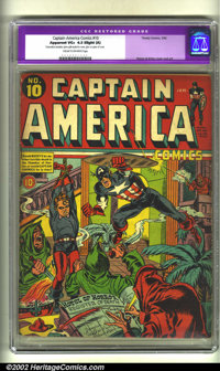 Captain America Comics #10 (Timely, 1942) CGC Apparent VG+ 4.5 Slight (A) Cream to off-white pages. Joe Simon and Jack K...