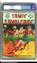 Golden Age (1938-1955):Superhero, Comic Cavalcade #1 (DC, 1942). CGC VF- 7.5 Off-white to white pages. Overstreet 2002 VF 8.0 value = $5500....