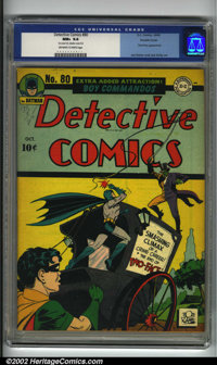 Detective Comics #80 Double cover (DC, 1943) CGC NM+ 9.6 Off-white to white pages. Truly incredible condition, with the...