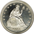 Proof Seated Quarters, 1842 25C Small Date PR64 NGC....