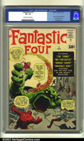 Silver Age (1956-1969):Superhero, Fantastic Four #1 (Marvel, 1961) CGC VF- 7.5 Off-white to whitepages. Overstreet 2002 VF 8.0 value = $8,800....