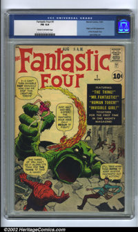 Fantastic Four #1 (Marvel, 1961). CGC FN 6.0 Cream to off-white pages. Origin and first appearance of the Fantastic Four...