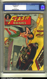 Flash Comics #100 (DC, 1948) CGC VG/FN 5.0 Off-white pages. Overstreet 2002 GD 2.0 value = $300; FN 6.0 value = $900