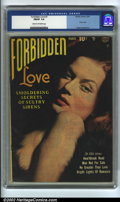 Golden Age (1938-1955):Romance, Forbidden Love #1 (Quality, 1950). CGC FN/VF 7.0 Cream to off-whitepages. Overstreet 2002 FN 6.0 value = $219; VF 8.0 value...