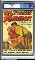 """Golden Age (1938-1955):Romance, Frontier Romances #1 (Avon, 1949) CGC VF+ 8.5 White pages. Used inSOTI, """"Erotic spanking in a comic book."""". Overstreet 2002..."""