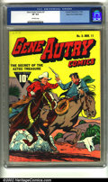 Golden Age (1938-1955):Western, Gene Autry Comics #3 Mile High pedigree (Fawcett, 1942) CGC VF 8.0Off-white pages. Overstreet 2002 VF 8.0 value = $597....