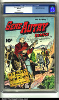 Golden Age (1938-1955):Western, Gene Autry Comics #8 Mile High pedigree (Fawcett, 1943) CGC NM 9.4 White pages. Overstreet 2002 NM 9.4 value = $875....