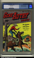 Golden Age (1938-1955):Western, Gene Autry Comics #10 Mile High pedigree (Fawcett, 1943) CGC VF+8.5 Off-white to white pages. This Mile High pedigreed comi...