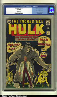 The Incredible Hulk #1 (Marvel, 1962) CGC FN- 5.5 Off-white pages. Origin and first appearance of the Hulk by Jack Kirby...