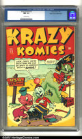 Golden Age (1938-1955):Funny Animal, Krazy Komics #13 Mile High pedigree (Timely, 1944) CGC NM- 9.2Off-white pages. Incredibly high-grade Timely from the famous...