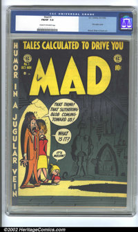 Mad #1 (EC, 1952) CGC FN/VF 7.0 Cream to off-white pages. Overstreet 2002 FN 6.0 value = $1,560; VF 8.0 value = $3,640...
