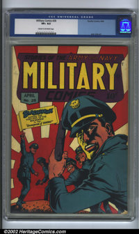 Military Comics #28 (Quality, 1944). CGC VF+ 8.5 Cream to off-white pages. Overstreet 2002 VF value = $388