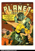 Golden Age (1938-1955):Science Fiction, Planet Comics #13 (Fiction House, 1941) Condition: FN. Scarce book.Great cover by Zolne Rowich. Off-white to white pages. O...