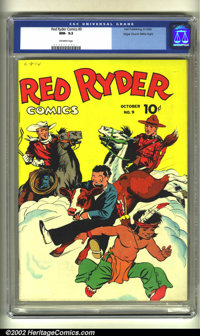 Red Ryder Comics #9 Mile High pedigree (Dell, 1942) CGC NM 9.2 Off-white pages. This beautiful, coded Mile High is flat...
