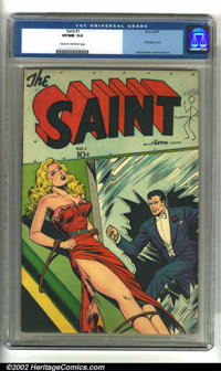 Saint #1 (Avon, 1947) CGC VF/NM 9.0 Cream to off-white pages. Incredible bondage cover by Jack Kamen. Overstreet 2002 NM...