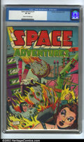 Golden Age (1938-1955):Science Fiction, Space Adventures #1 (Charlton, 1952). CGC VF 8.0 Cream to off-whitepages. Overstreet 2002 VF 8.0 value = $300....