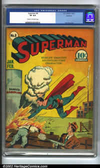 Superman #8 Rockford pedigree (DC, 1941) CGC VF 8.0 Cream to off-white pages. Fred Ray cover. Overstreet 2002 VF 8.0 val...