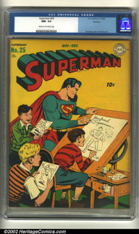 Superman #25 Rockford pedigree (DC, 1943) CGC NM- 9.2 Cream to off-white pages. Overstreet 2002 NM 9.4 value = $1,400...