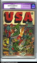 Golden Age (1938-1955):Superhero, U.S.A Comics #5 (Timely, 1942) CGC Apparent VG+ 4.5 Moderate (P) Cream to off-white pages. Hitler, Mussolini and Tojo cover...