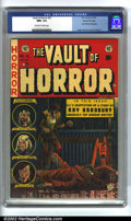 Golden Age (1938-1955):Horror, Vault of Horror #31 Gaines File pedigree 4/12 (EC, 1953). CGC NM+9.6 Off-white to white pages. Ray Bradbury biography. Over...