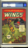 Golden Age (1938-1955):War, Wings Comics #2 (Fiction House, 1940) CGC FN 6.0 Off-white pages.Overstreet 2002 FN 6.0 value = $285....