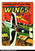 Golden Age (1938-1955):War, Wings Comics #38 (Fiction House, 1943) Condition: GD/VG. Classicairplane rescue cover. Overstreet 2002 GD 2.0 value = $33; ...