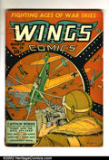 Golden Age (1938-1955):War, Wings Comics Lot of 6 (Fiction House, 1941). #19 VG-, #45 G/VG, #69VG+, #80 G/VG, #99 VG+ and #100 G/VG. Overstreet value f... (Total:6 Comic Books Item)