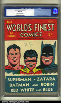 Golden Age (1938-1955):Superhero, World's Finest Comics #2 (DC, 1941). CGC VG- 3.5 Cream to off-white pages. Overstreet 2002 GD 2.0 value = $423; FN 6.0 value...