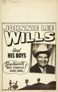 Music Memorabilia:Posters, Johnnie Lee Wills and his Boys Concert Window Card Poster (circa1950s). Bob Wills' younger brother Johnnie Lee Wills led hi...(Total: 1 Item)