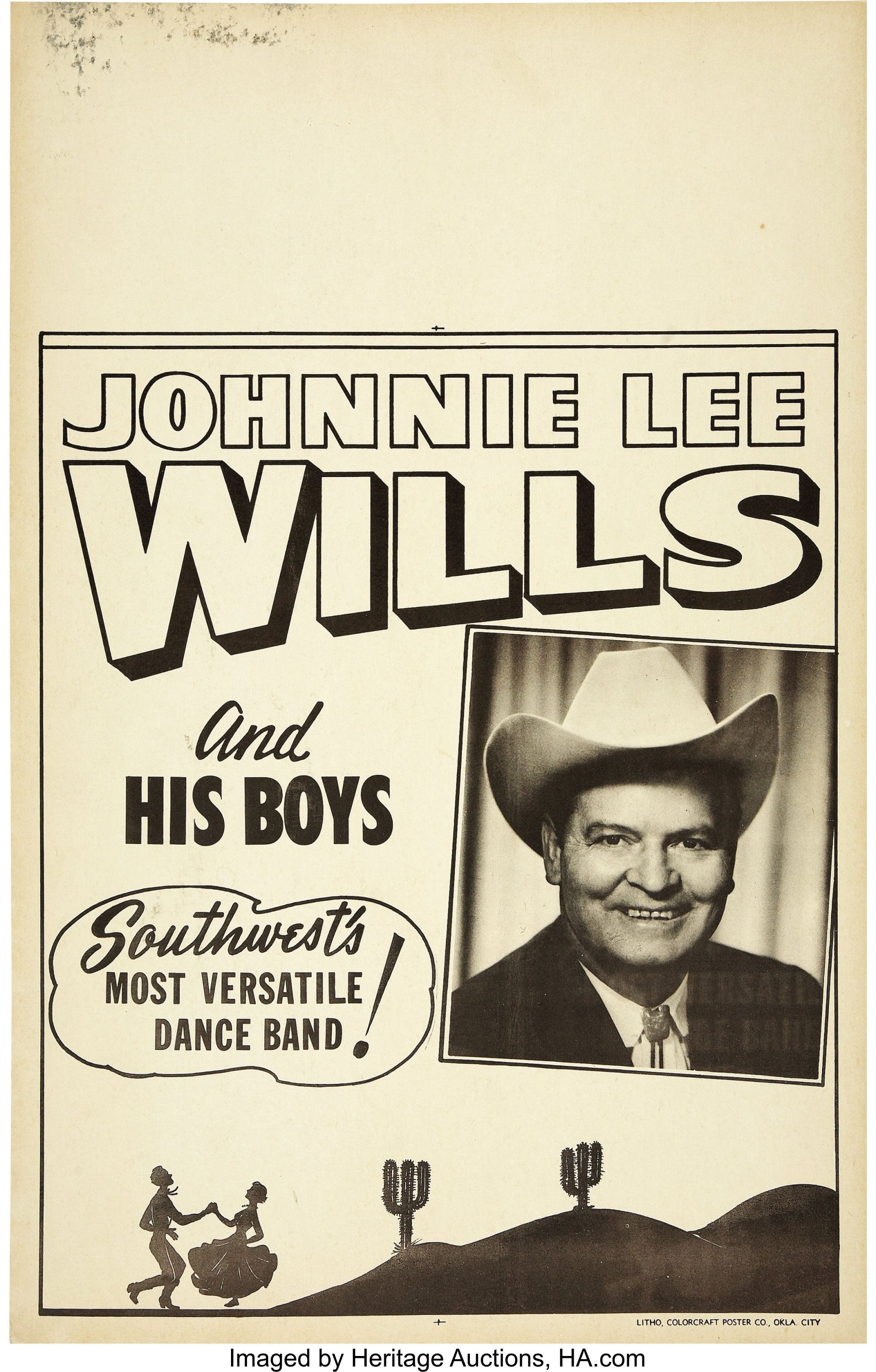 Johnnie Lee Wills and his Boys Concert Window Card Poster (circa | Lot  #30474 | Heritage Auctions