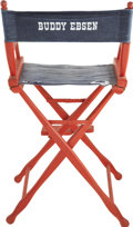 Movie/TV Memorabilia:Props, Buddy Ebsen's Red Director's Chair. A red wooden director's chairwith denim seat and back, with Ebsen's named stenciled on ...(Total: 1 Item)