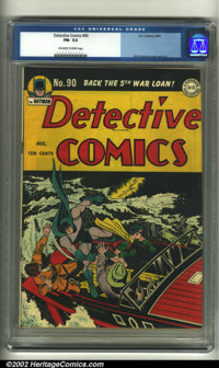 Detective Comics #90 (DC, 1944) CGC FN- 5.5 Off-white to white pages. Dick Sprang cover and art. Overstreet 2002 FN 6.0...