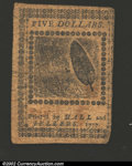 Colonial Notes:Continental Congress Issues, February 26, 1777, $5, Continental Congress Issue, CC-58, VF. ...