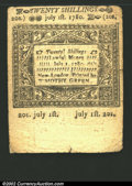 Colonial Notes:Connecticut, July 1, 1780, 20s, Connecticut, CT-239, XF. This is a well ...