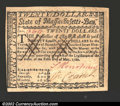 Colonial Notes:Massachusetts, May 5, 1780, $20, Massachusetts, MA-285, CU. A very well ...