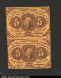 Fractional Currency:First Issue, First Issue 5c, Fr-1230, XF. Vertical pair. These notes face ...