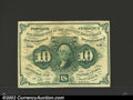 Fractional Currency:First Issue, First Issue 10c, Fr-1242, AU. Straight edge with monogram ...