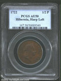 Colonials: , 1722 1/2P Hibernia Halfpenny, Type One AU50 Brown PCGS. ...