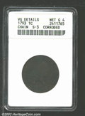 Large Cents: , 1793CHAIN 1C AMERICA, BN