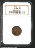 Proof Indian Cents: , 1908 1C PR 66 Red and Brown NGC. ...